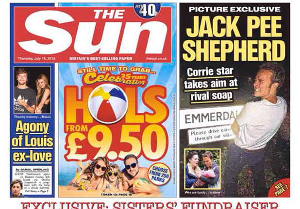 The Sun cover for Thursday 16 July