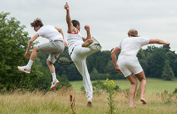 Jake Hall, Lewis Bloor and James ' James Lock ' Lock take a lesson in Capoeira, a Brazilian martial art 16 Jul 2015