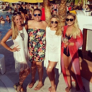 Lydia Bright and Denise Van Outen in Ibiza 23 July