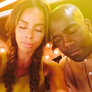 Rochelle Humes and Melvin Odoom asleep at The X Factor, Wembley Arena 20 July
