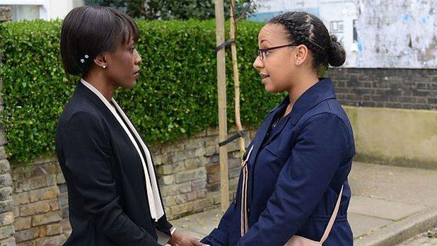 Belinda Owusu as Libby Fox and Diane Parish as Denise Fox in EastEnders.
