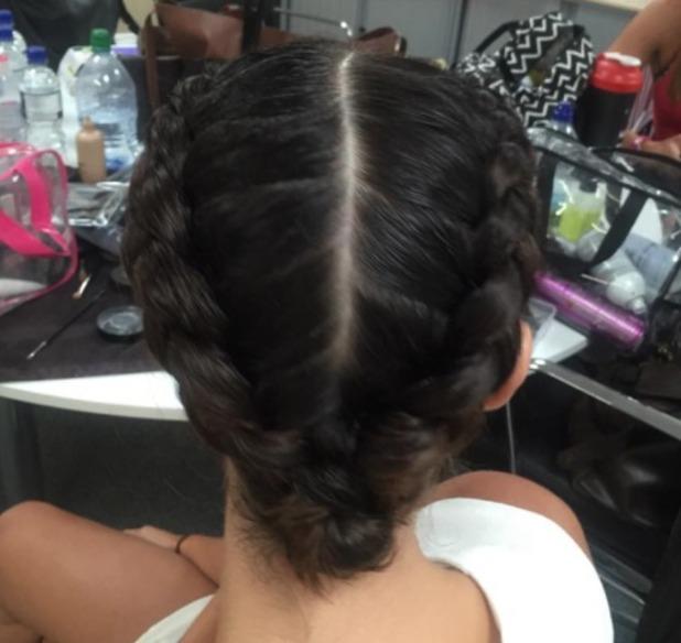 Lucy Mecklenburgh rocks centre-parted braids, 24 July 2015