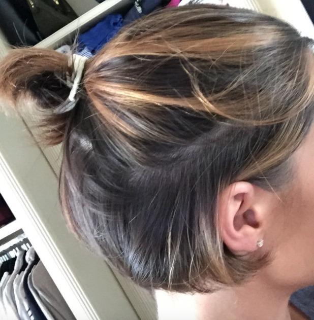 Frankie Bridge scrapes her crop into a tiny ponytail, 16 July 2015