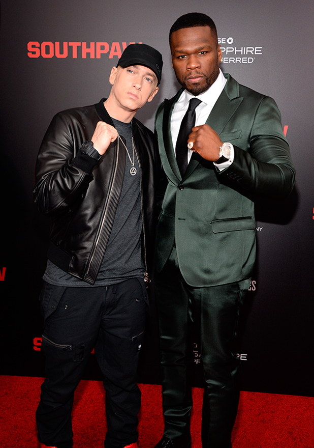 Eminem and 50 Cent attend the 'Southpaw' New York premiere at AMC Loews Lincoln Square on July 20, 2015 in New York City. (Photo by Kevin Mazur/WireImage)