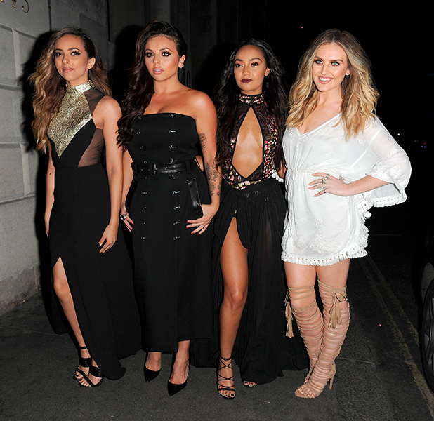 Little Mix arrive at Steam & Rye for a party to celebrate their latest single 'Black Magic' hitting number 1 in the charts