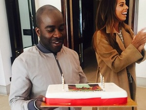Rochelle Humes celebrates Melvin Odoom's birthday at The X Factor