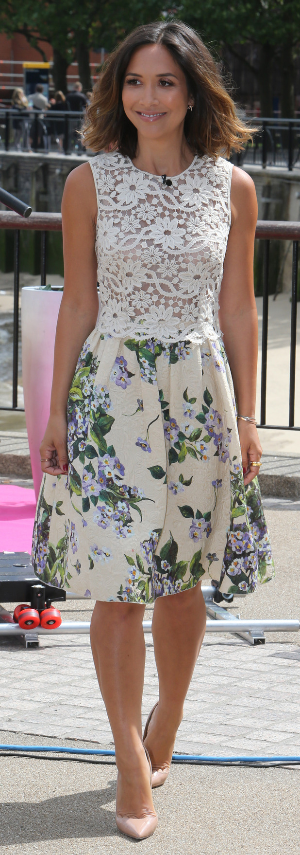 Myleene Klass filming BBQ Champ outside ITV studios, London Southbank 30th July 2015