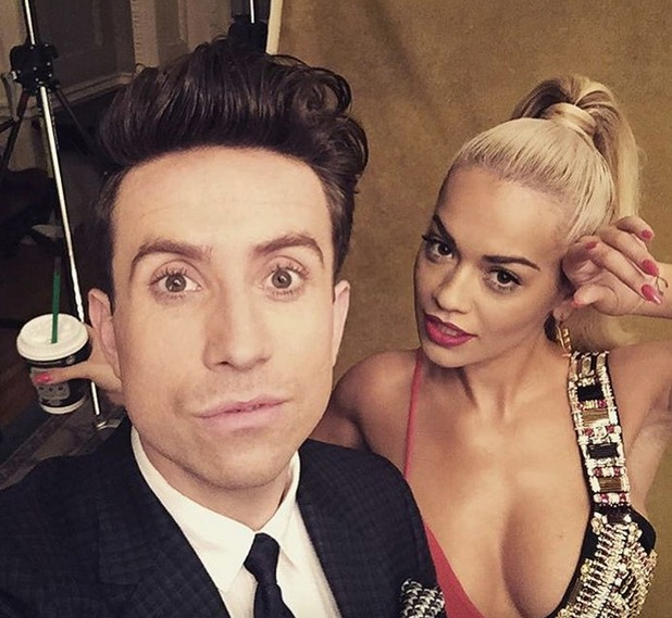 X Factor judges Nick Grimshaw and Rita Ora strike a pose - 27 July 2015.