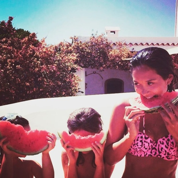 Myleene Klass on holiday with her two daughters, 30th July 2015