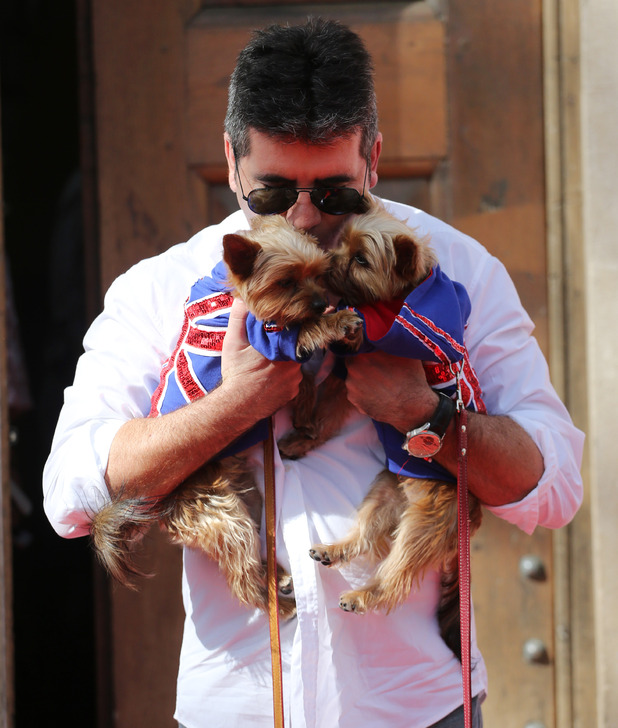 Simon Cowell with Squiddly and Diddly at Britain's Got Talent press launch held at St Luke's Church, September 2013