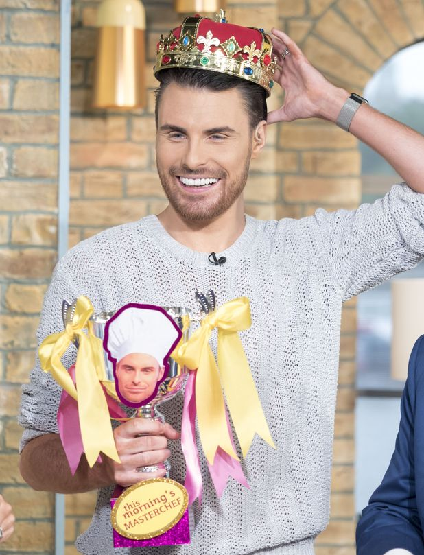 Rylan Clark presented with a MasterChef trophy on This Morning - 27 July 2015.