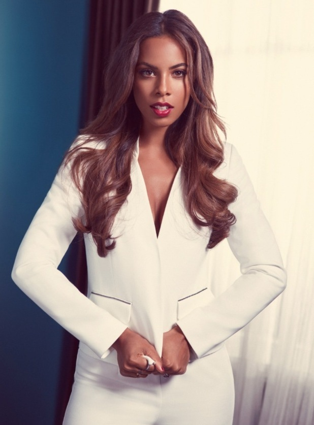 Rochelle Humes models white suit for Very.co.uk 27th July 2015