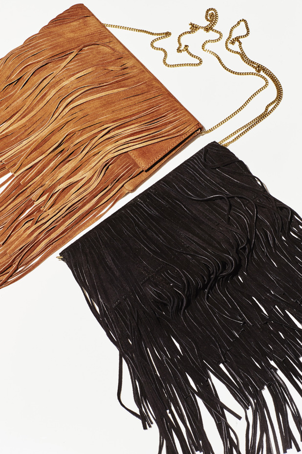 Abbey Clancy designs two fringed bags for Matalan, £23 29th July 2015