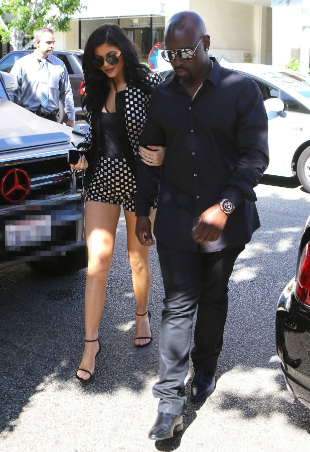 Kylie Jenner and Corey Gamble pictured as The Kardashian Family leave a showing of Phantom of the Opera and then arrive at the Ivy on July 26, 2015 in Los Angeles, California. (Photo by MPI99/Bauer-Griffin/GC Images)