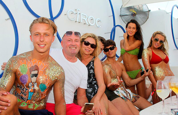 Fran Parman and Diags help Joey Essex celebrate birthday in Ibiza 29 July 2015