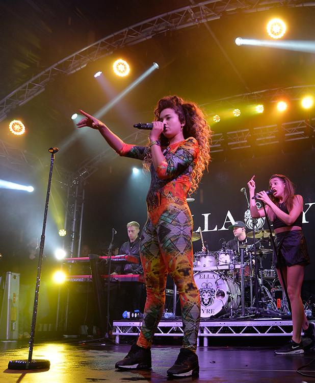 Ella Eyre on stage at Thorpe Park's Island Beats 25 July 2015