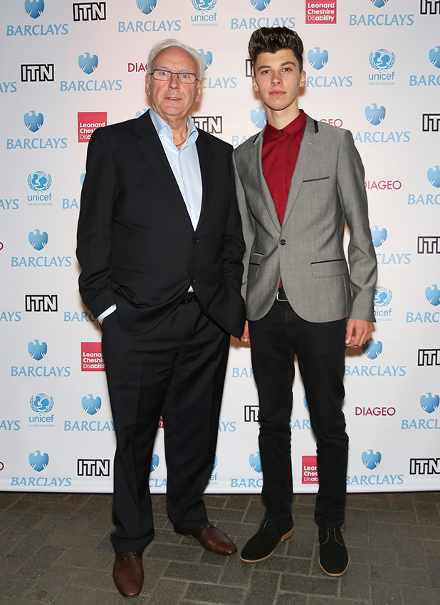Pete Waterman and James Graham attend the annual Newsroom's Got Talent event to raise money for the Leonard Cheshire Disability charity and UNICEF at Indigo2 at O2 Arena on October 10, 2013 in London, England. (Photo by Rob Ball/ITN 2013/WireImage)