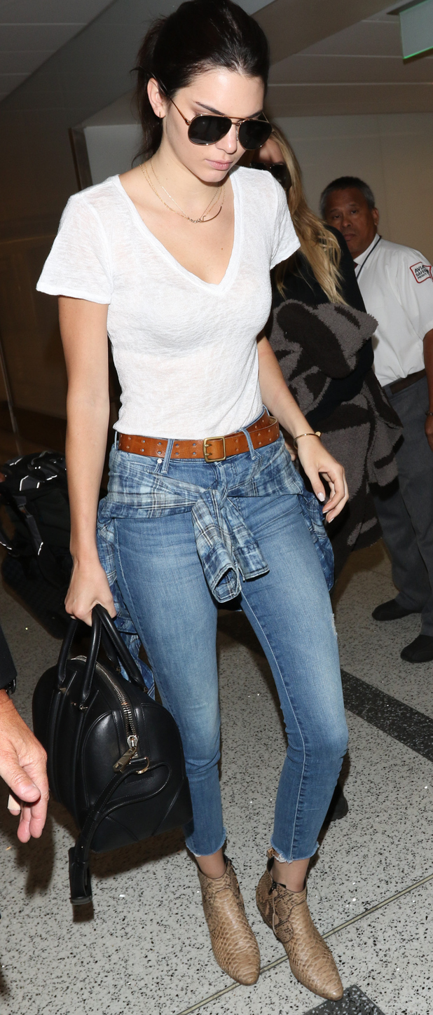 Kendall Jenner arriving at L.A.X international Airport in L.A, 7th August 2015
