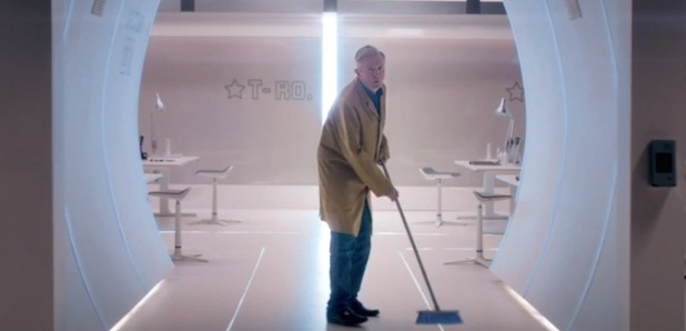 Louis Walsh makes an appearance in the new X Factor trailer as a cleaner - August 2015.