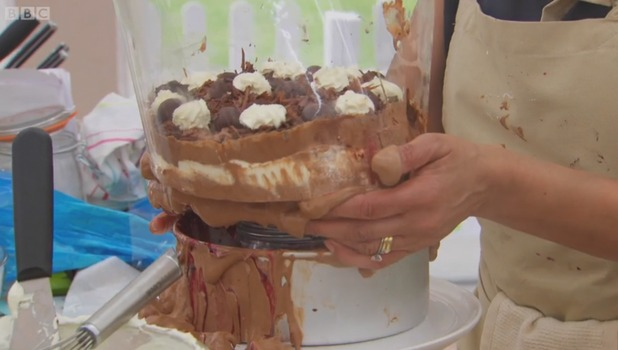 The Great British Bake Off - episode one.  Dorret Conway's black forest gateau falls apart - 5 August 2015.