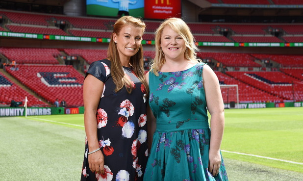 Pregnant Coleen Rooney at McDonald's Football Mum of the Year Award, Wembley, with winner Leah - 02 Aug 2015.