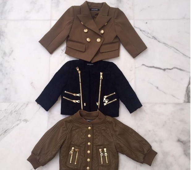 Kim Kardashian takes to Instagram to share pictures of North West's Balmain jackets, 6th August 2015