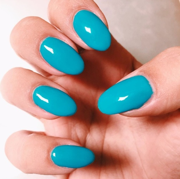 Ferne McCann uploads picture of teal manicure to Instagram 3rd Auust 2015