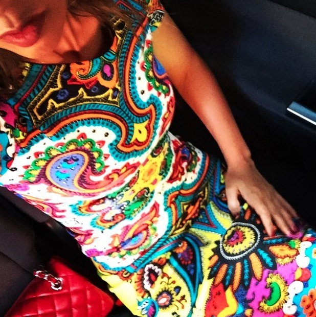Myleene Klass takes to Instagram to share a picture of her Littlewoods dress, 4th August 2015