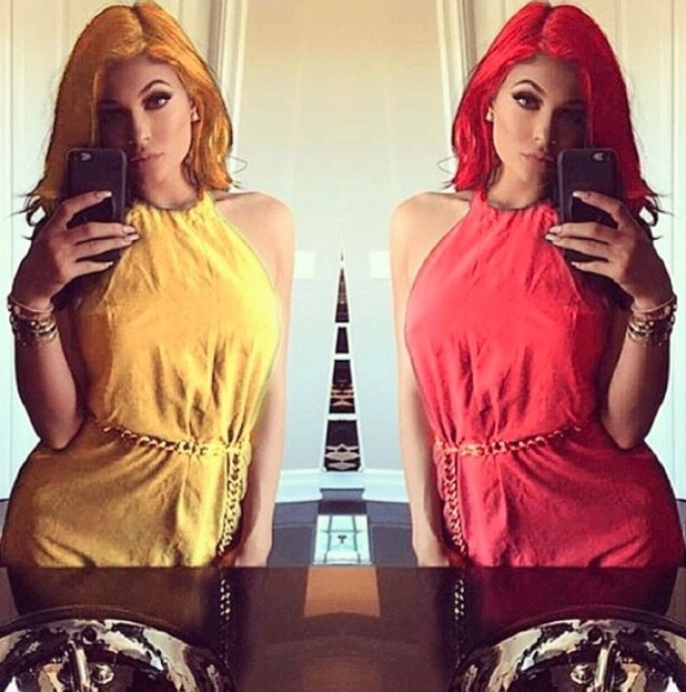 Kylie Jenner with red hair, Instagram 3rd August 2015