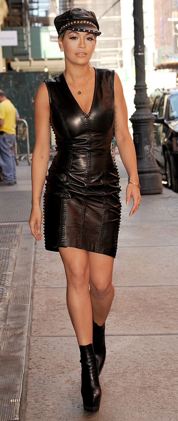 Rita Ora out and about in New york wearing head-to-toe leather 13th August 2015
