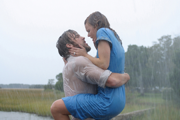 Ryan Gosling and Rachel McAdams kissing scene in The Notebook, 2004