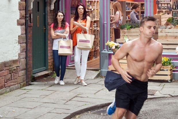 Hollyoaks, Harry runs through the village, Thu 13 Aug