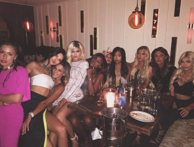 Kylie Jenner poses alongside friends and family at 18th birthday party, 10th August 2015