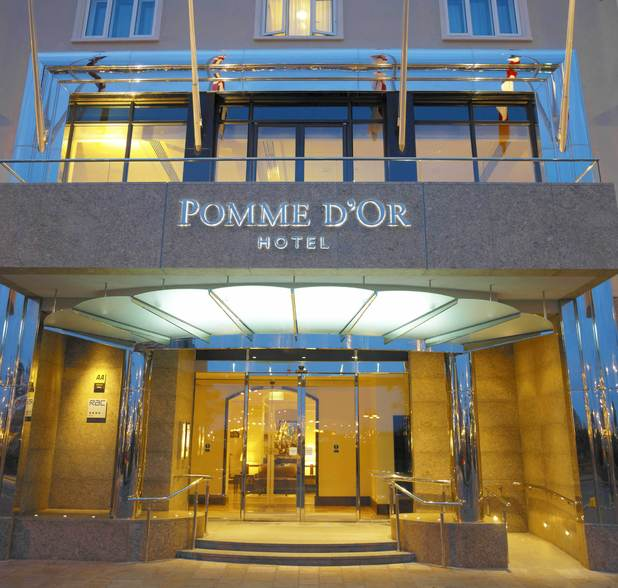 Entrance to The Pomme d'Or hotel in Jersey