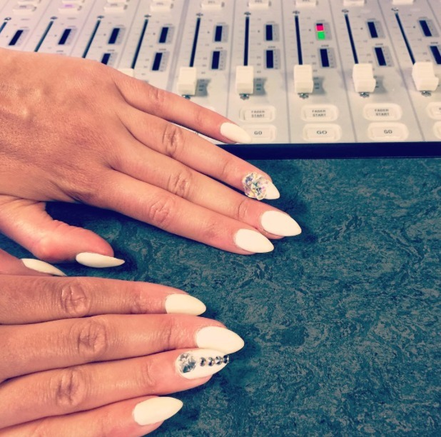 Sarah-Jane Crawford shows off her white, bling LA manicure, 10 August 2015