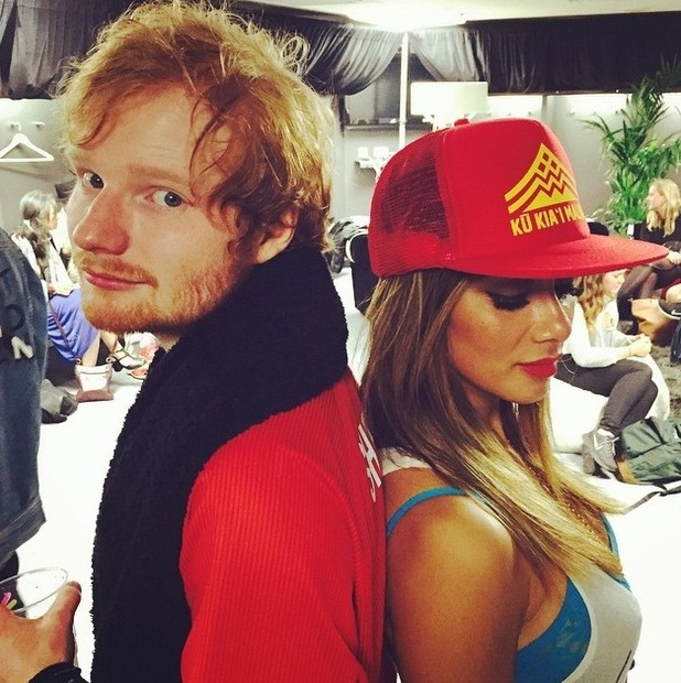 Ed Sheeran and Nicole Scherzinger pose back-to-back - July 2015.