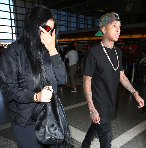 Kylie Jenner and Tyga seen at LAX leaving for a flight to France on June 22, 2015 in Los Angeles, California.
