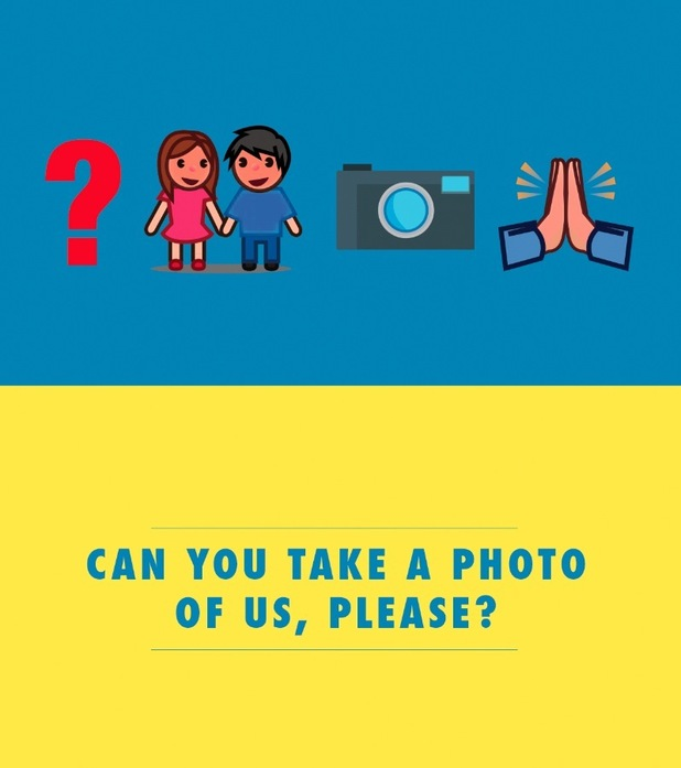 'Can you take a photo of us please?'. Emoji flashcards to help brits abroad break down the language barrier, August 2015