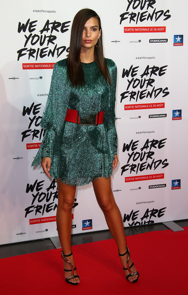 Actress Emily Ratajkowski attends the 'We Are Your Friends' Premiere at Kinepolis on August 12, 2015 in Lille, France.