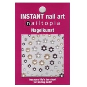 Nailtopia professional quality nail stickers - gold, silver and black flowers, £1.99 from Amazon.co.uk