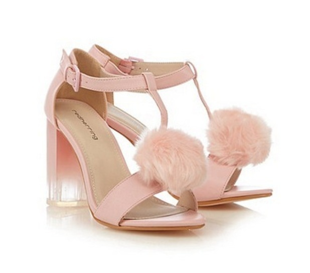 Red Herring Light pink pom pom high sandals. £17.50 in the style of Jade Thirlwall.