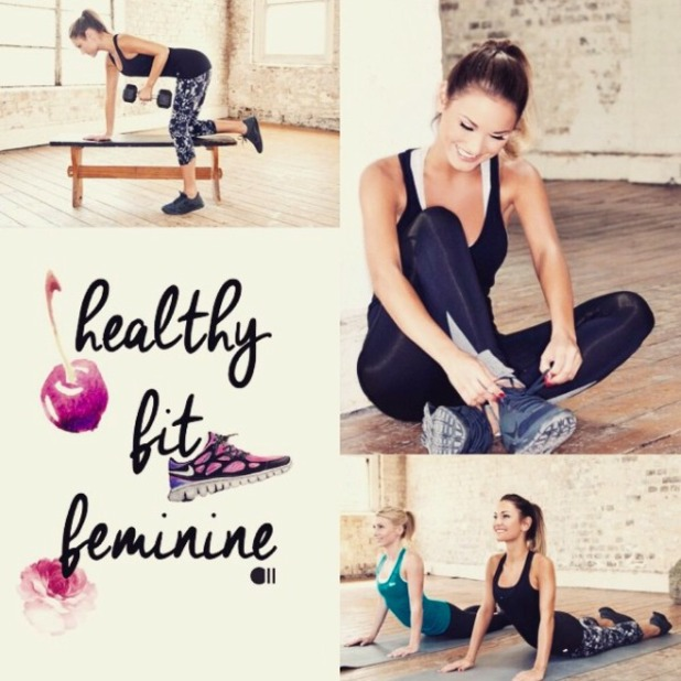 Sam Faiers promotes her fitness company.