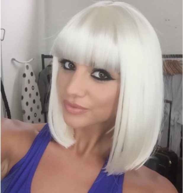 Lucy Mecklenburgh sports white blonde wig with fringe behind-the-scenes of Ellesse fashion shoot for very.co.uk, 17 August 2015