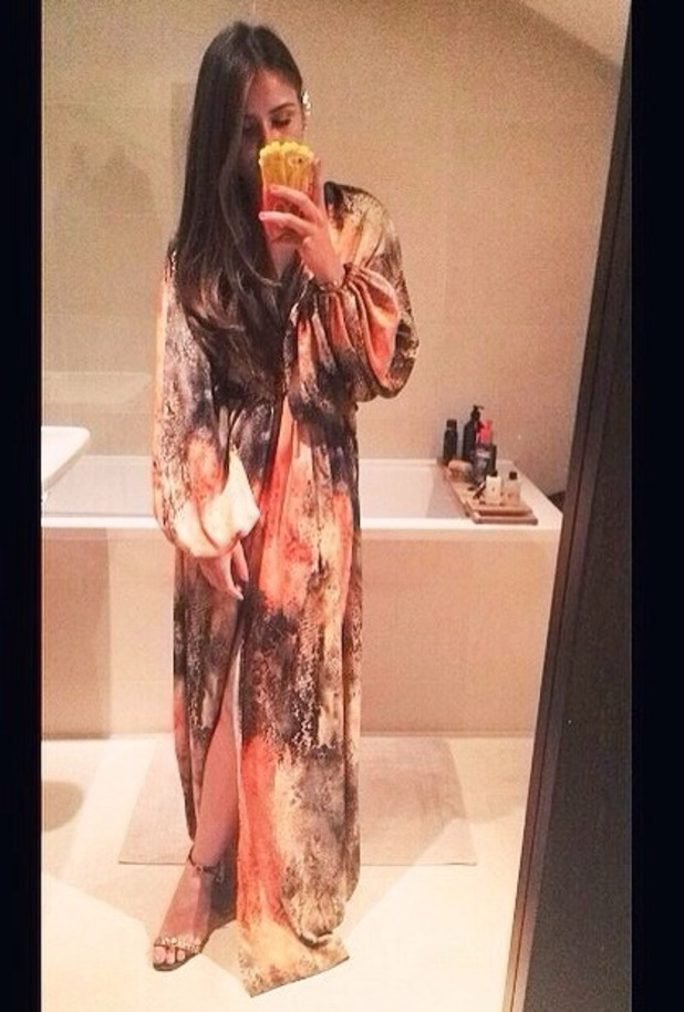 Brooke Vincent in printed maxi dress on night out - for use on Brooke's blog. 18 August 2015.