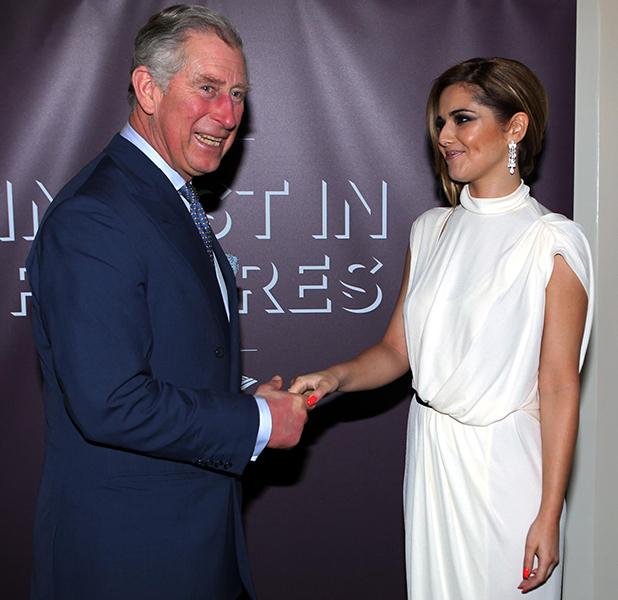 Prince Charles, Prince of Wales meets Cheryl Cole (R) at the Prince's Trust's Invest in Futures gala dinner held at The Savoy on February 23, 2012 in London, England. (Photo by Sean Dempsey - WPA Pool/Getty Images)