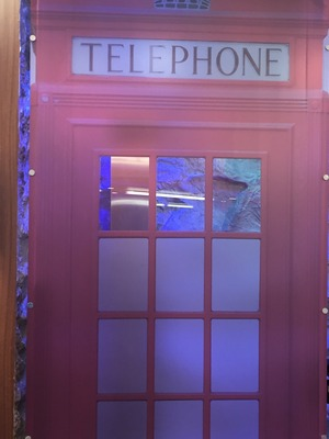 Reveal tour the Celebrity Big Brother house - Bathroom / telephone design shower door - 24 August 2015.