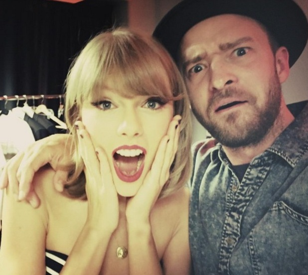 Justin Timberlake and Taylor Swift on her 1989 tour, LA 27 August