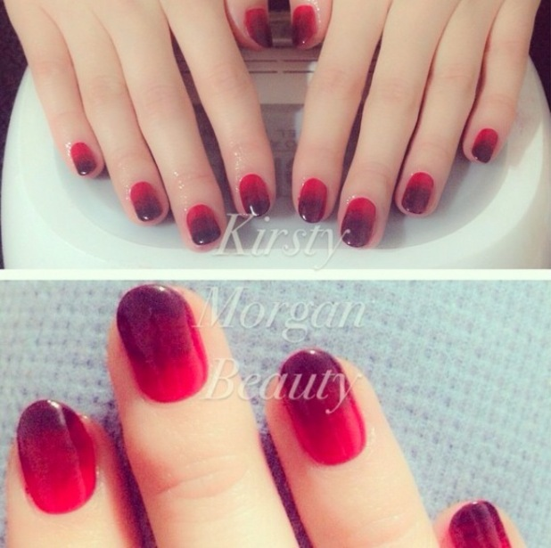 Kirsty Morgan Beauty, red and black ombre manicure 25th August 2015