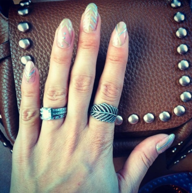Millie Mackintosh shares shape of her geometric nails on Instagram 24th August 2015