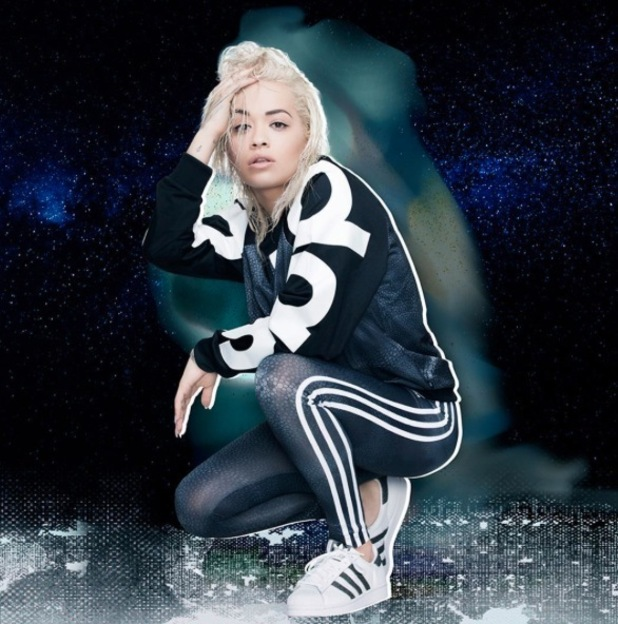 Rita Ora models black bomber jacket and matching leggings for Adidas Originals collection 25th August 2015